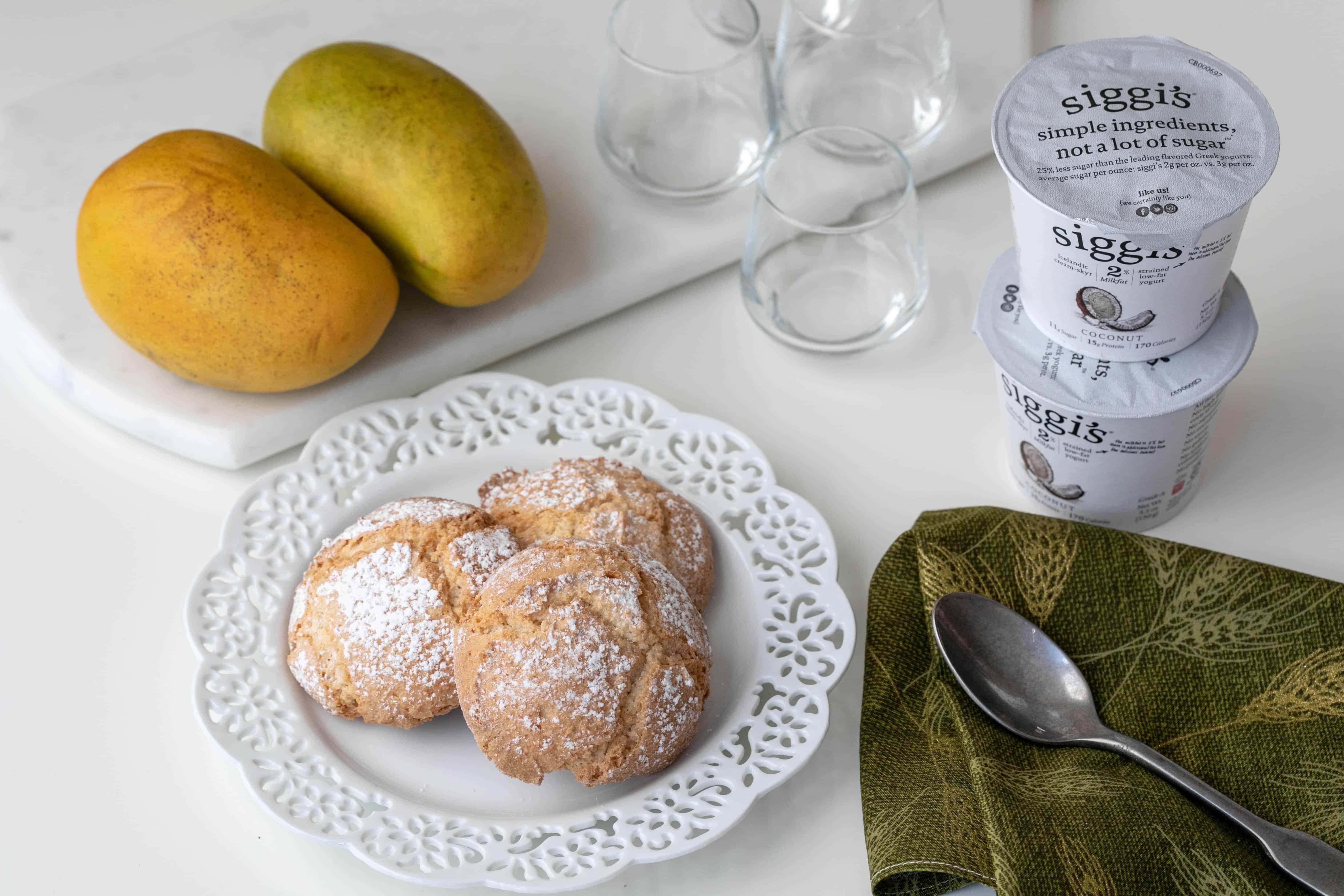 ingredients: ataulfo mangoes, coconut yogurt, amaretti cookies, and mini shot glasses