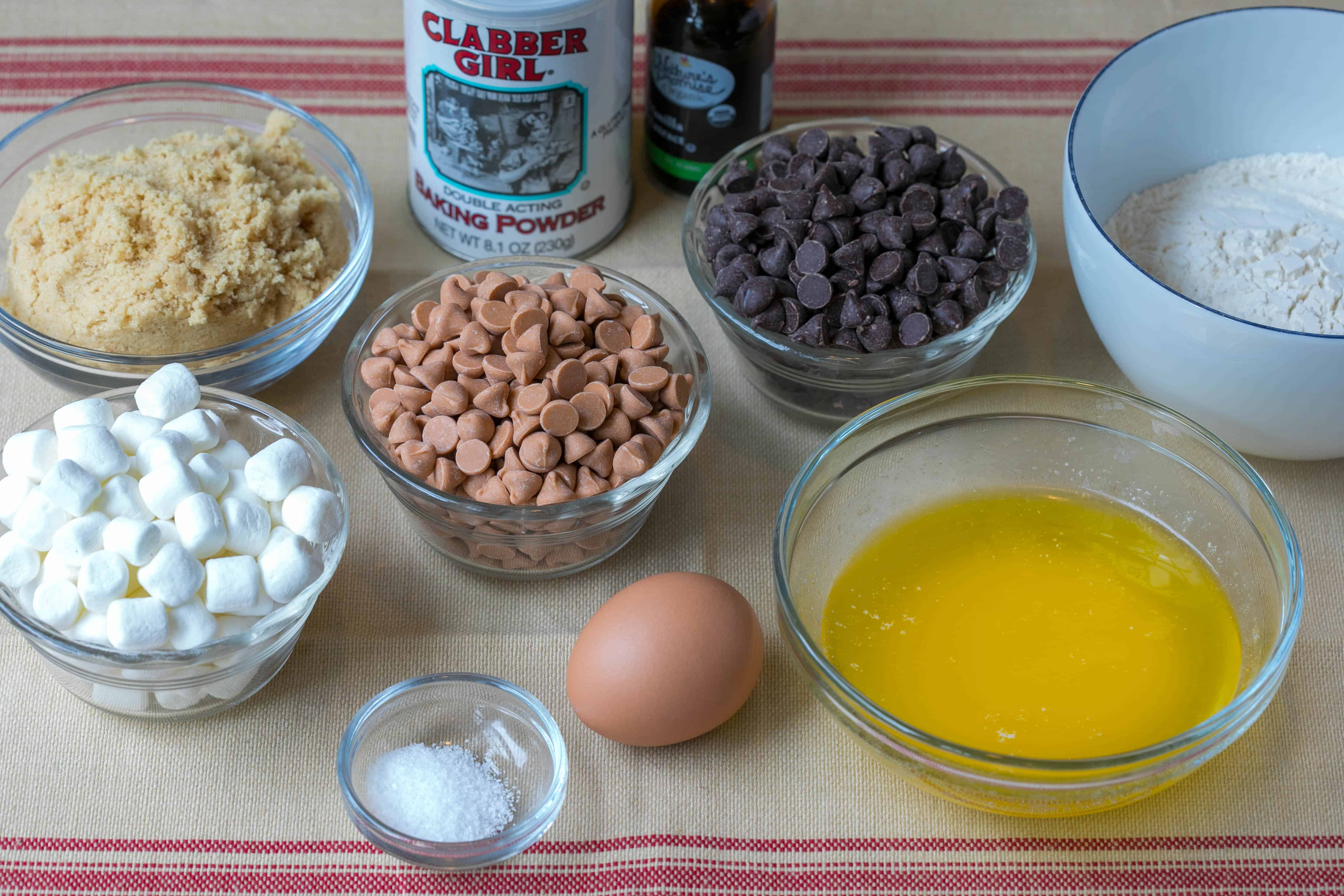 ingredients for ultimate blondies: brown sugar, marshmallows, butterscotch chips, chocolate chips, flour, butter