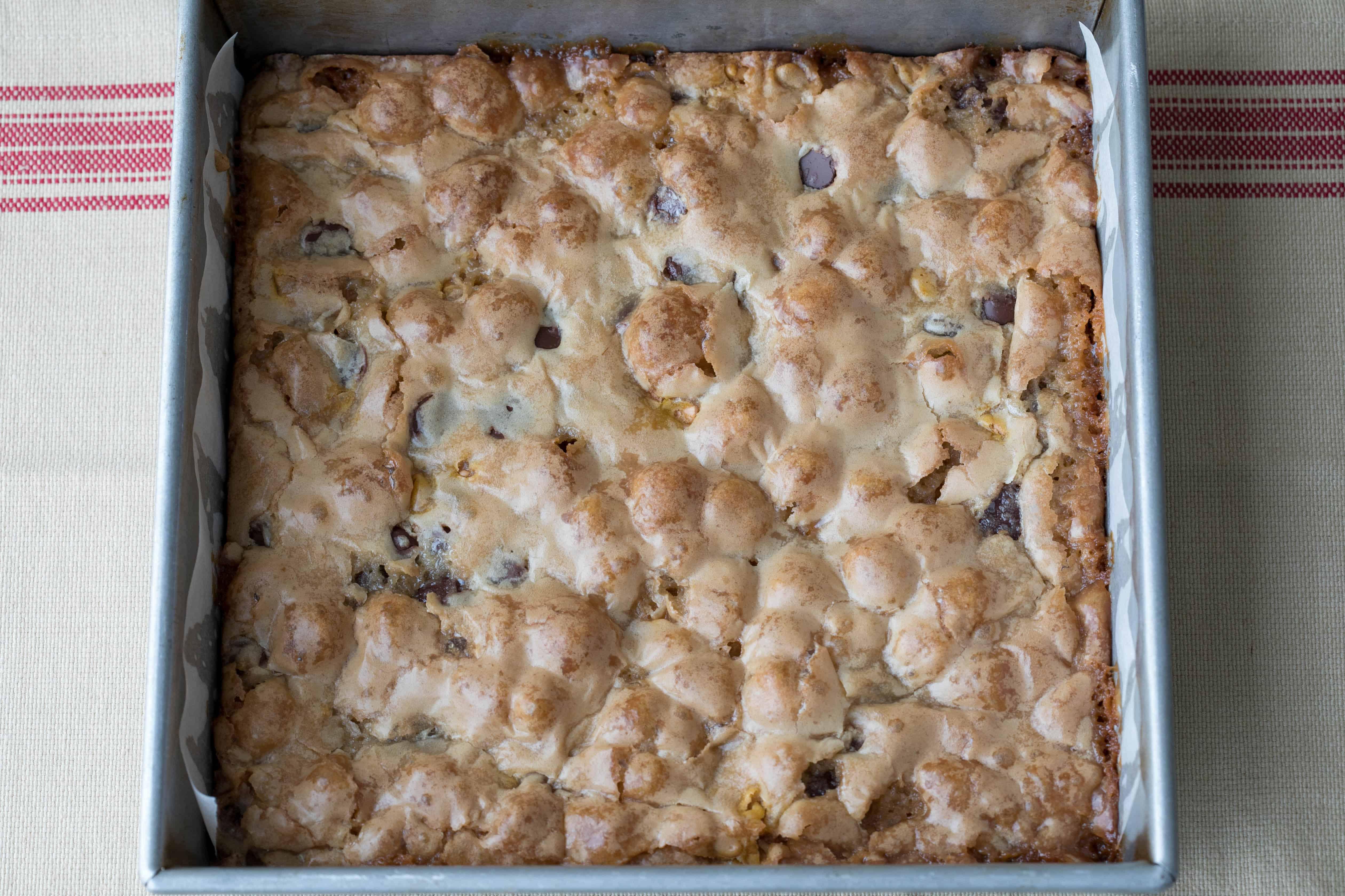 baked blondies in 9x9 pan