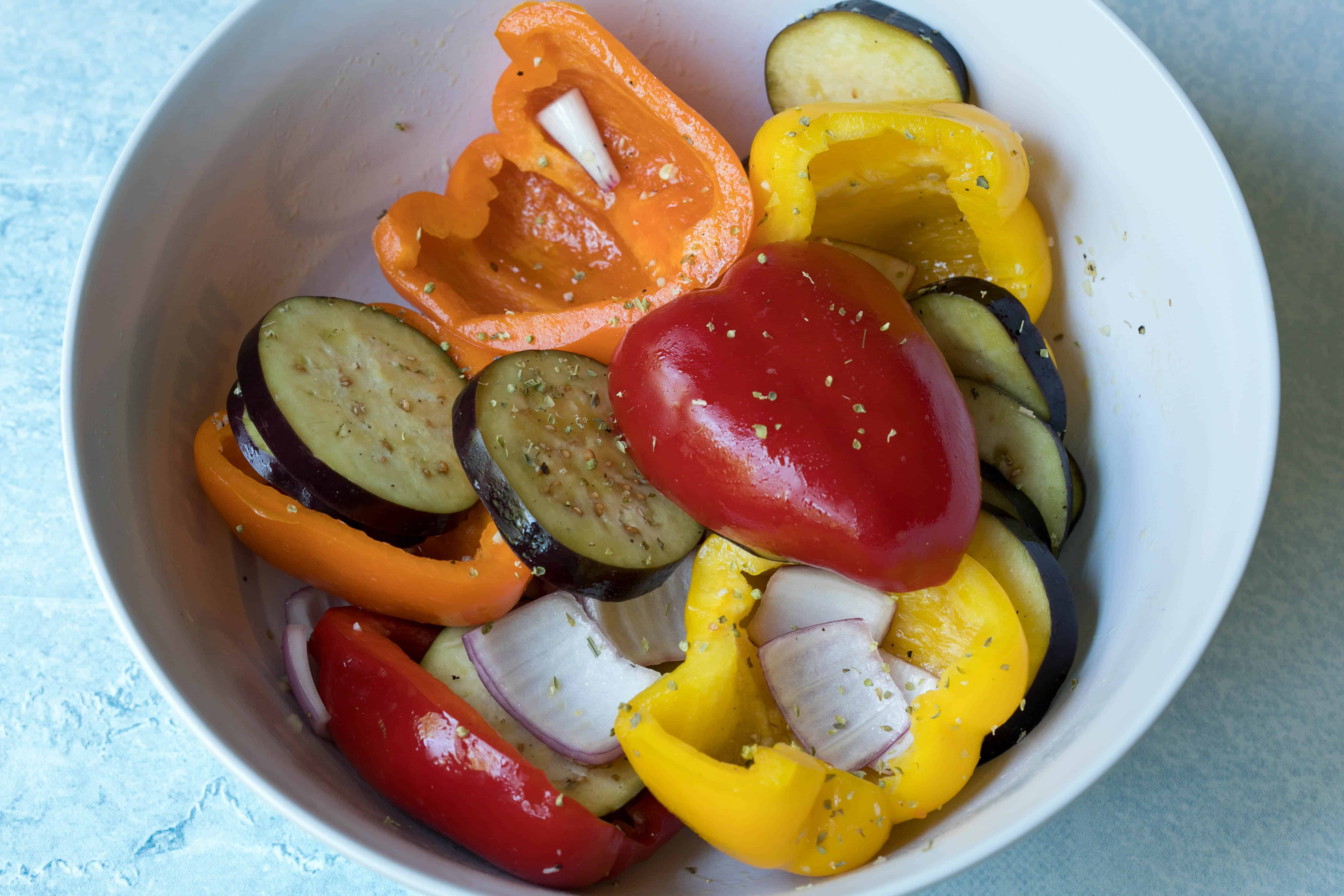 cut up vegetables in marinade