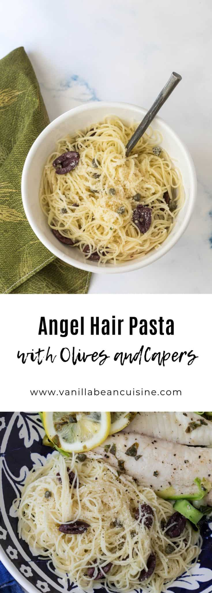 This angel hair pasta side dish, featuring olives, capers, and parmesan cheese, is the perfect accompaniment to grilled fish, meats, or vegetables.