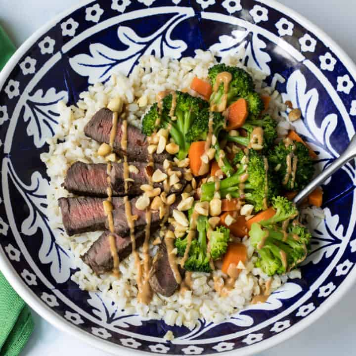 Grain Bowl with Steak, Brown Rice, and Peanut Sauce