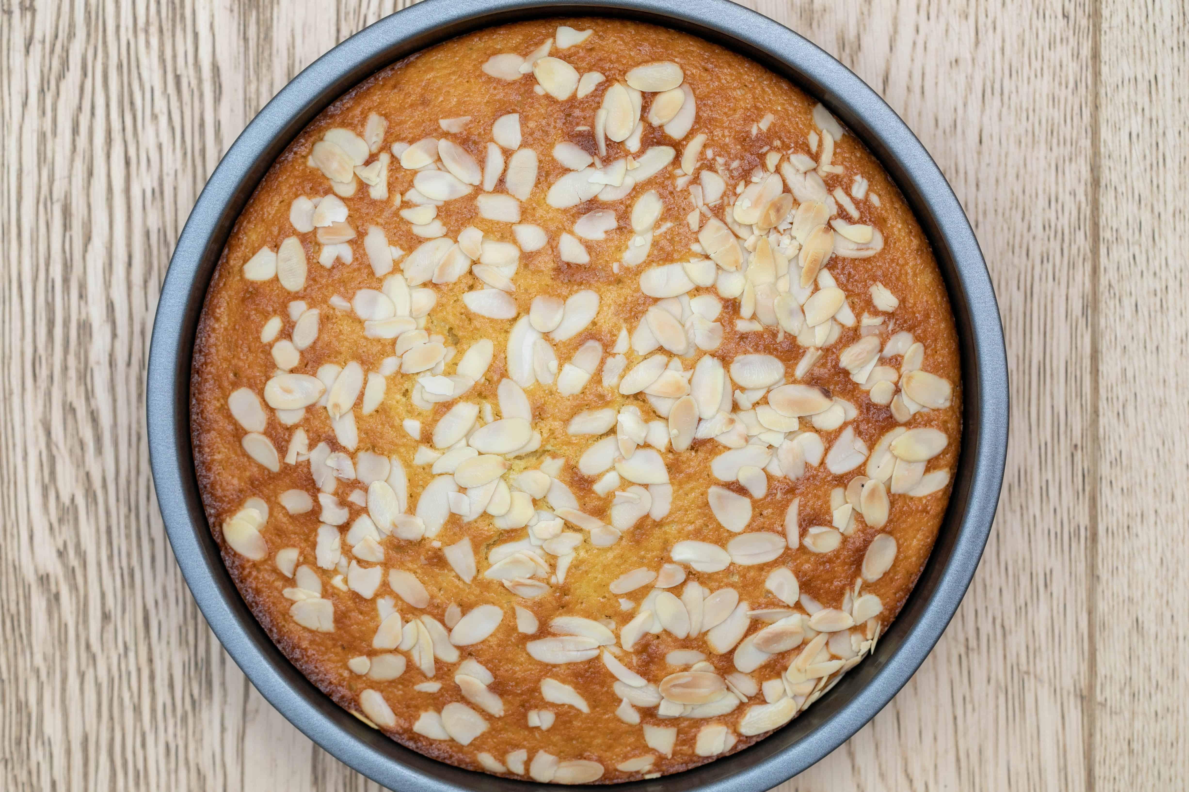 baked french yogurt cake with almonds
