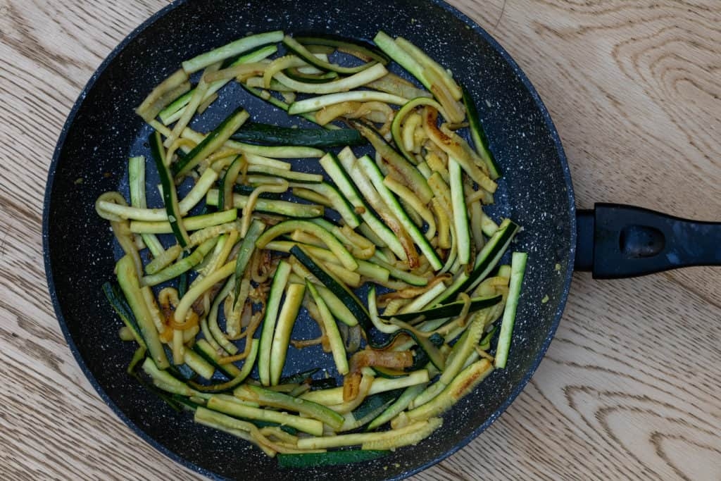 Browned zucchini in nonstick skillet
