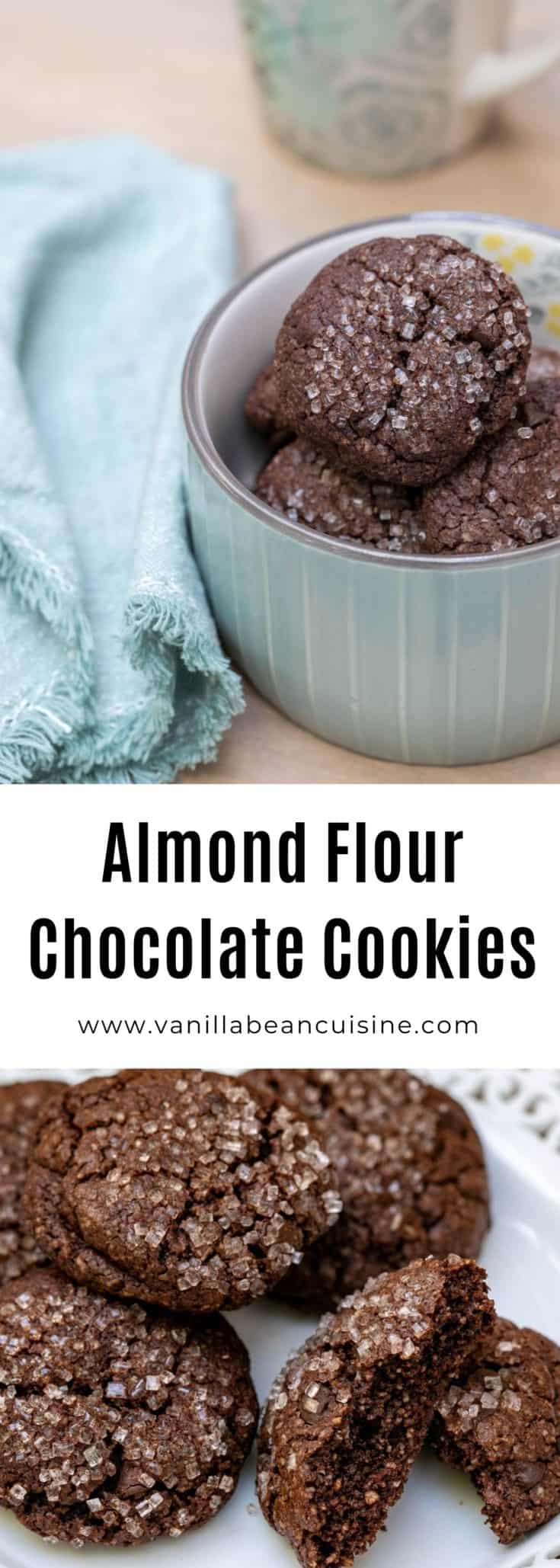 These Almond Flour Chocolate Cookies have a deep dark chocolate flavor and a slight nuttiness. Entirely gluten-free and so easy-to-make—no mixer required. #glutenfree #dessert #cookies #chocolate #vanillabeancuisine