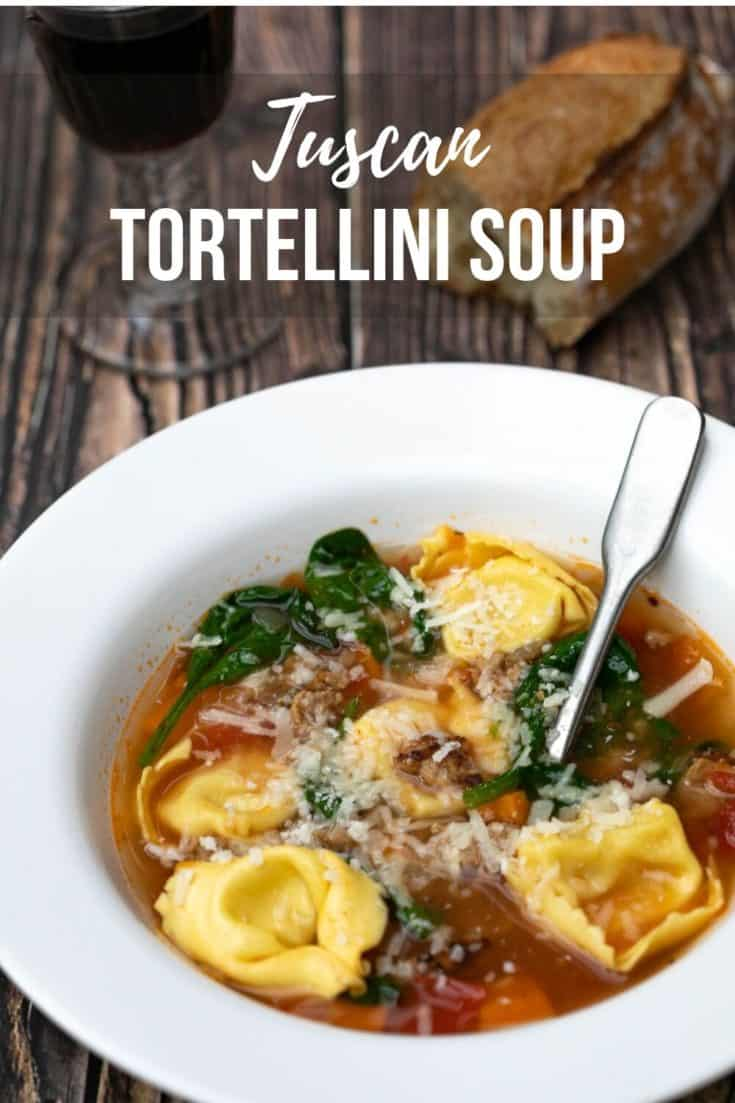 Tuscan Tortellini Soup combines a rich tomato broth with Italian sausage, spinach, and cheese tortellini. Kid-friendly and so delicious!