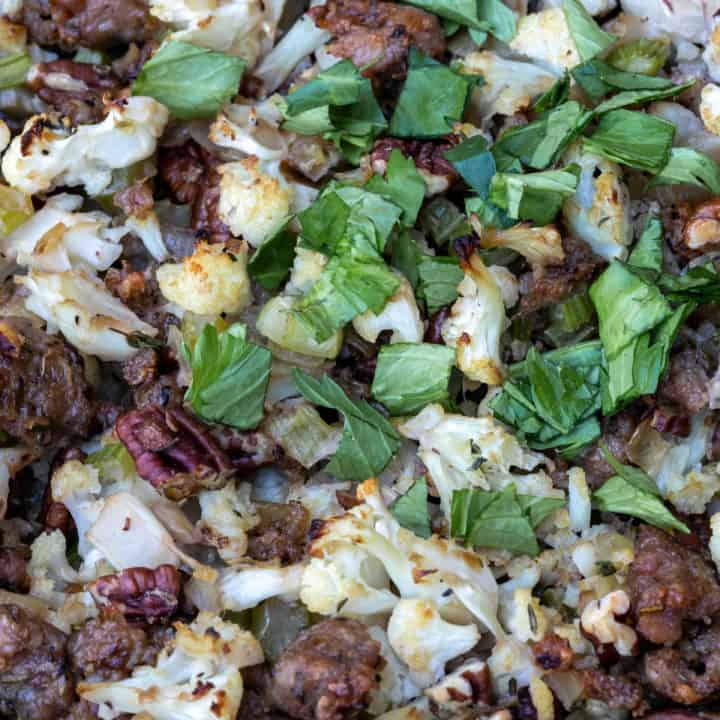 Cauliflower Stuffing with Sausage and Pecans