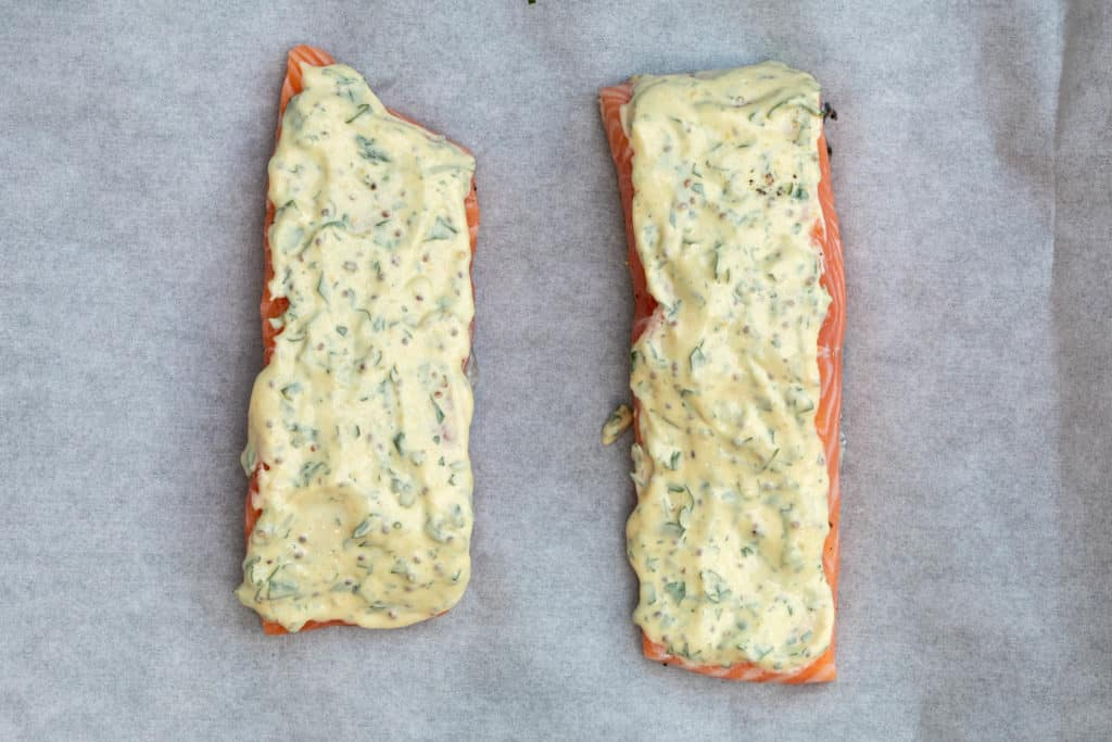 salmon fillets with mustard-mayo sauce