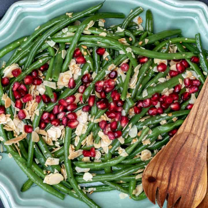 Green Beans Almondine with Pomegranate Seeds