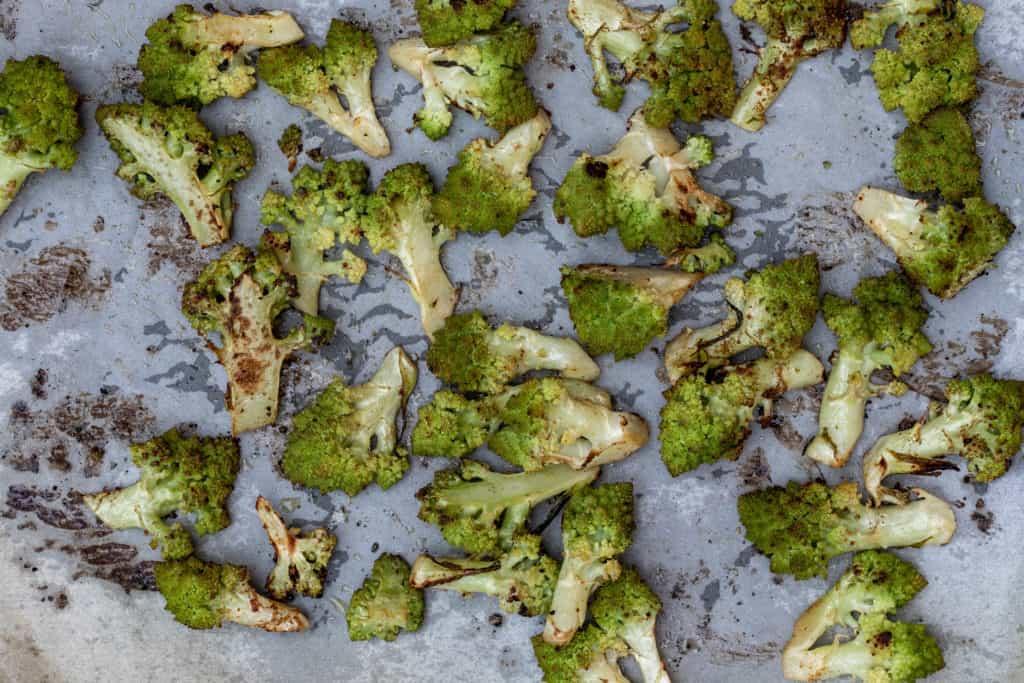 roasted romanesco broccoli on sheet pan