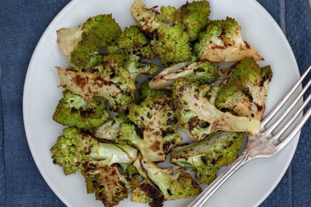 roasted romanesco broccoli on a plate