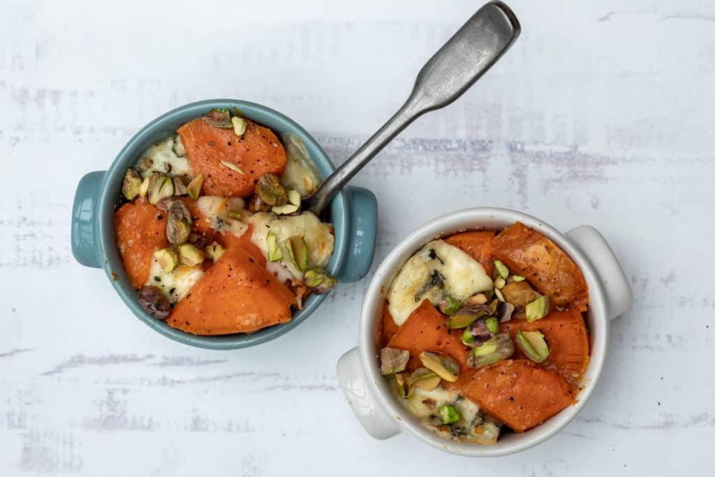 mini sweet potato au gratins with spoon