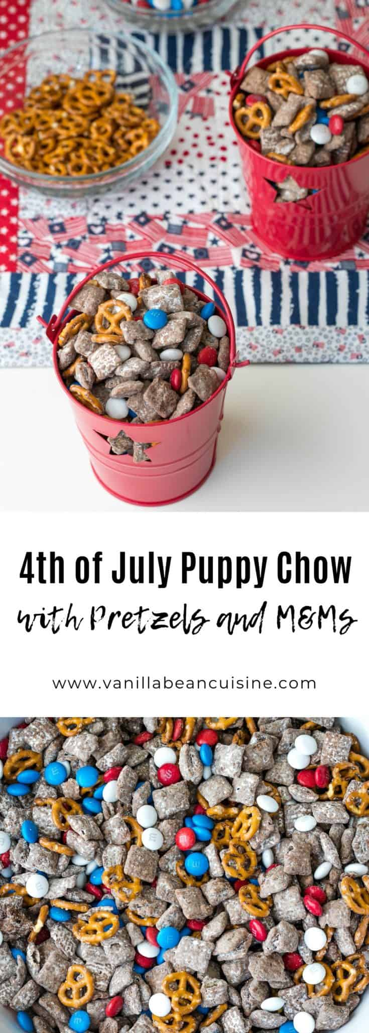 This patriotic puppy chow is an easy and delicious recipe for your 4th of July festivities. Chocolate-peanut butter-covered Chex tossed in confectioners sugar and combined with pretzels and M&Ms. #4thofJuly #puppychow #dessert #4thofJulyfood #vanillabeancuisine