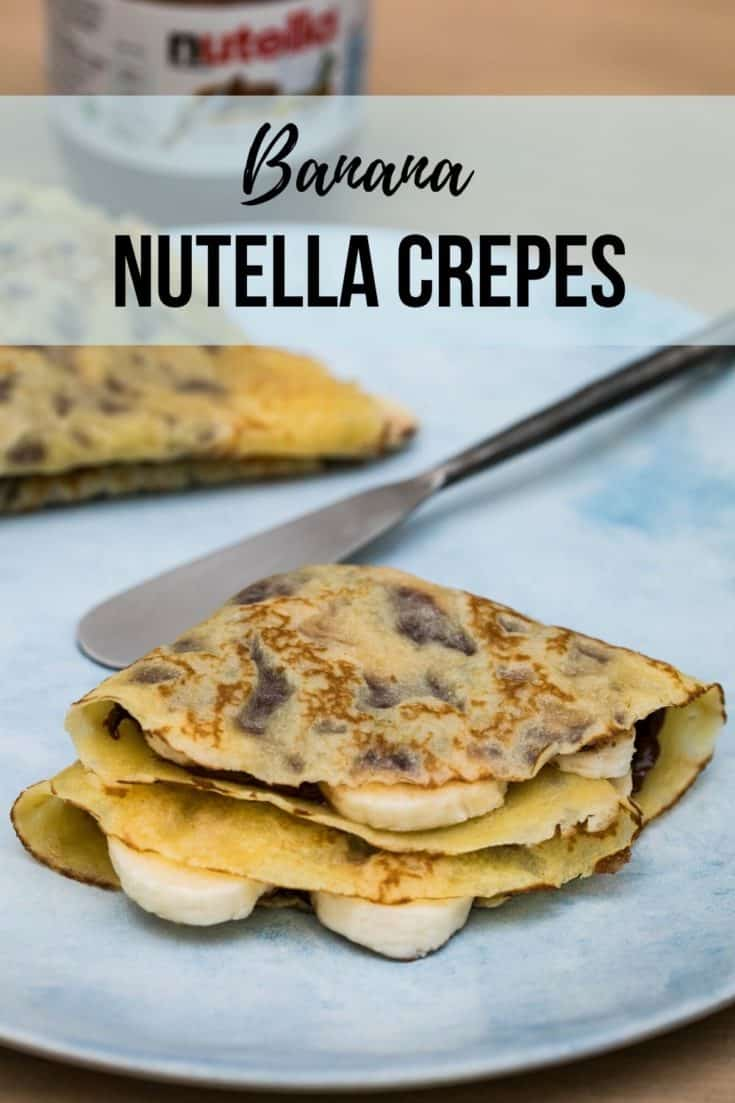 These Banana Nutella Crepes are a perfect afternoon snack! Crepes are so easy to make and are topped with Nutella and sliced bananas in this recipe. #banananutellacrepes #nutellacrepes #afternoonsnack #gouter #frenchrecipes