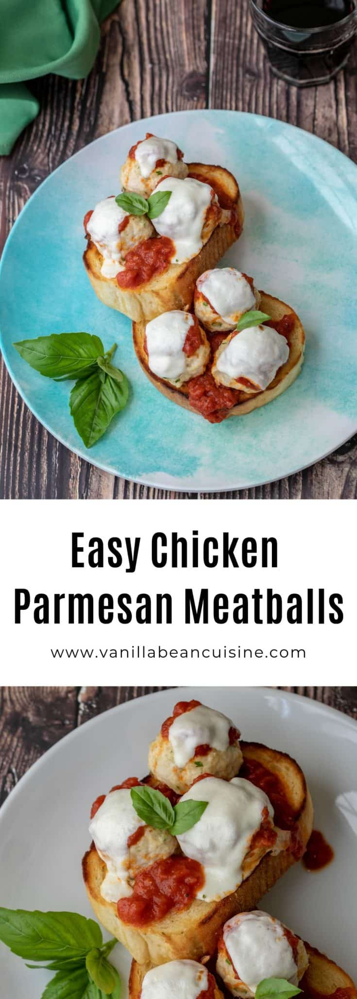 Baked and then broiled with marinara sauce and melty mozzarella cheese these chicken parmesan meatballs are guaranteed to make your people happy. Great on pasta, garlic bread, or go low-carb and serve with a big green salad. #chickenparm #30minmeals #healthyrecipes #vanillabeancuisine #chicken #meatballs #chickenparmesanmeatballs