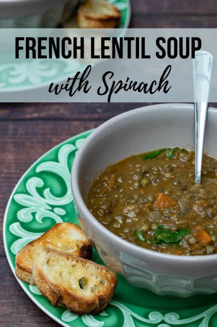 This creamy vegetarian/vegan French Lentil Soup is made with onions, carrots, lentils, and spinach. Healthy and filling—perfect for lunch or dinner! #vegan #vegetarian #gluten-free #soup #lentils #frenchlentilsoup #vanillabeancuisine