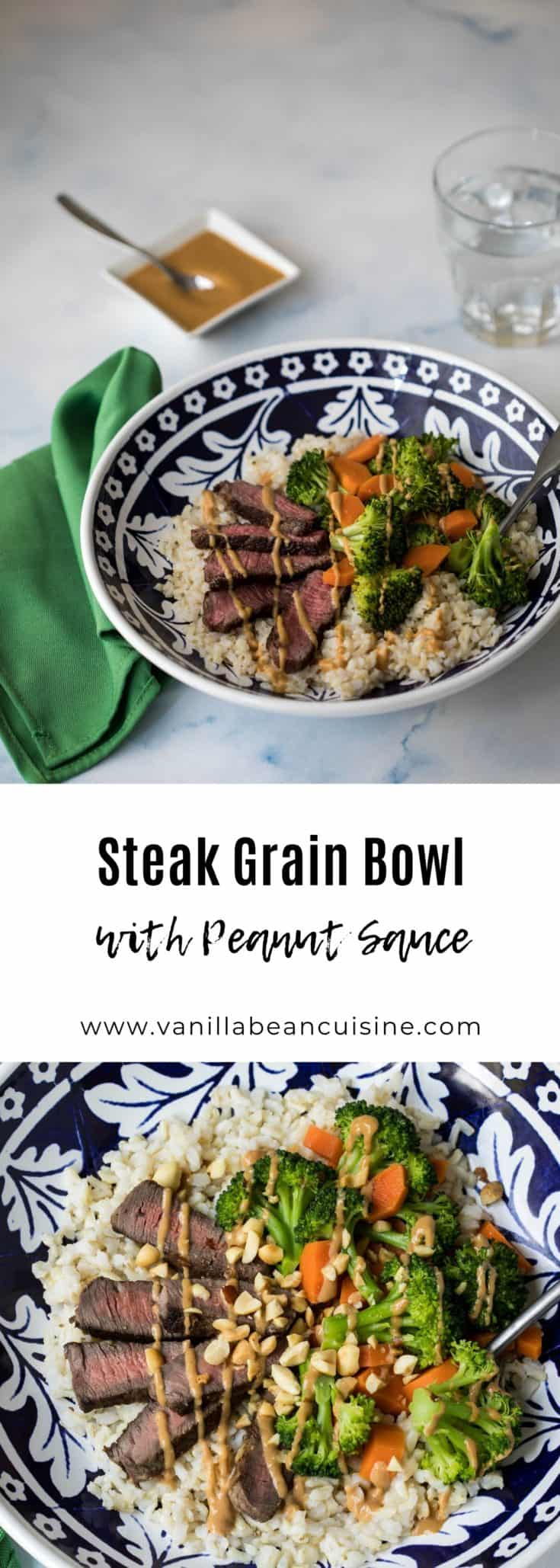 This steak brown rice grain bowl is healthy and delicious. Features brown rice topped with steak, carrots, broccoli, and drizzled with peanut sauce. #grainbowl #ricebowl #healthydinner #vanillabeancuisine #pickyeaters