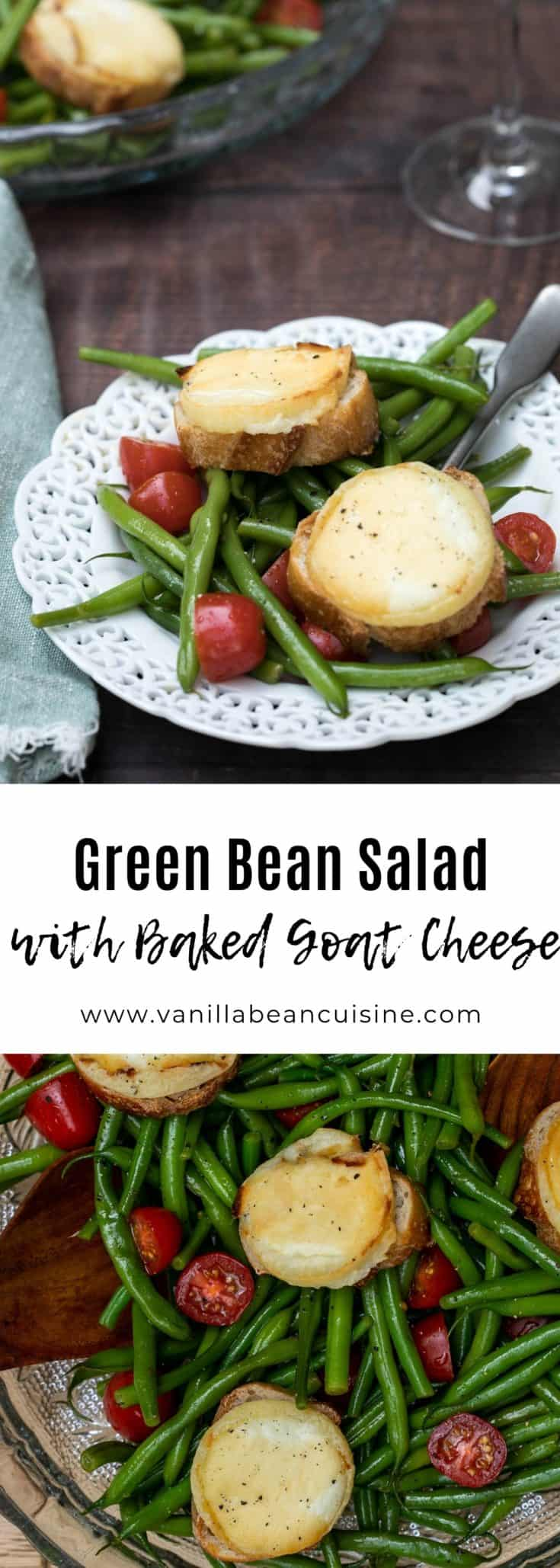 This green bean salad combines green beans and tomatoes in a cider vinaigrette, topped with baked goat cheese toasts. Healthy, delicious, and decadent! #vegetarian #greenbeansalad #salad #vanillabeancuisine #goatcheese