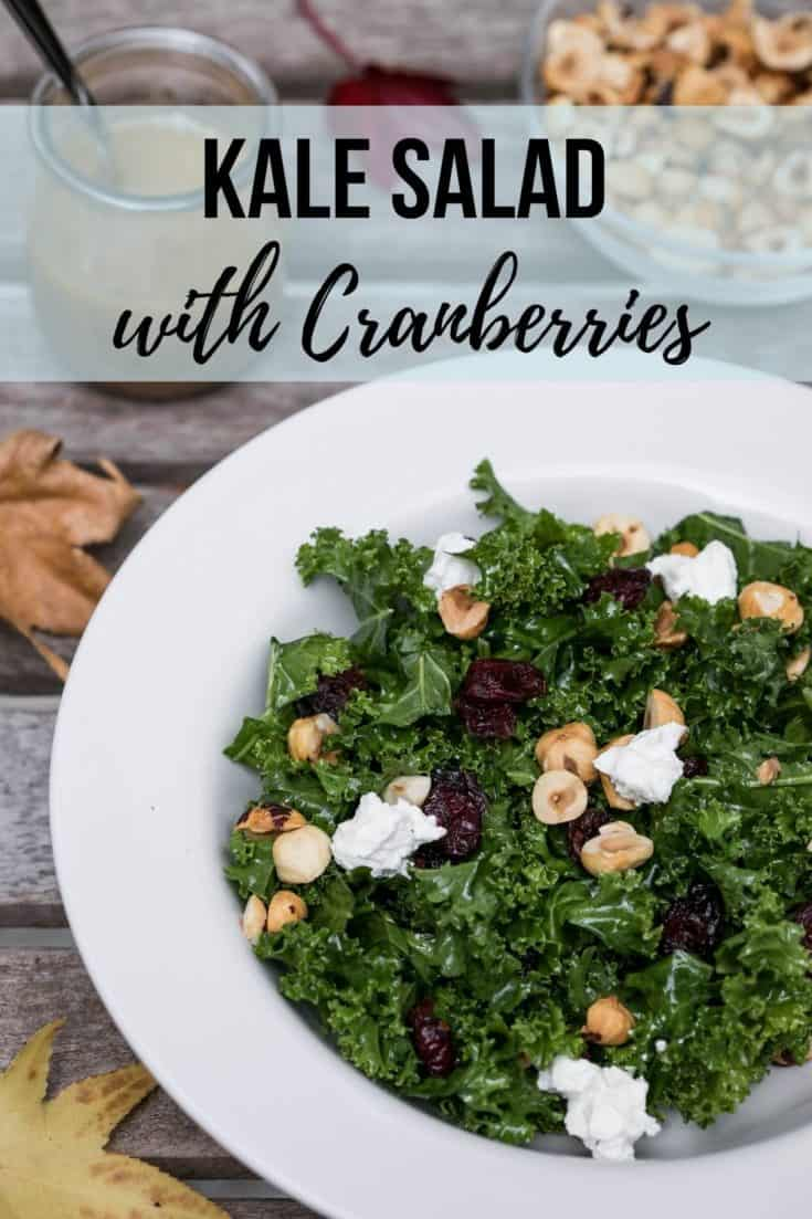 Kale Salad with Cranberries combines chopped kale in a red wine vinaigrette with dried cranberries, toasted hazelnuts, and creamy goat cheese. #glutenfree #vegetarian #kalesaladwithcranberries #kale #fallsides #holidaysides