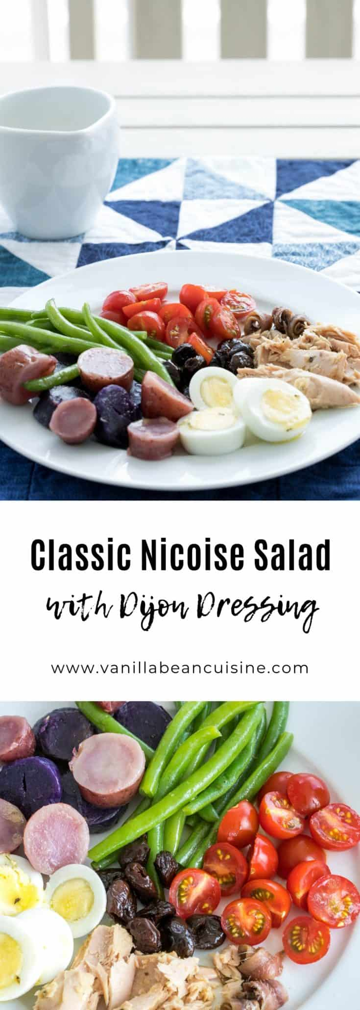 This classic Nicoise salad is perfect for a light summer meal. Eggs, potatoes, green beans, tuna, tomatoes, and olives are lovely tossed with this dijon vinaigrette. #nicoisesalad #summermeals #lowcarbmeals #glutenfree #vanillabeancuisine