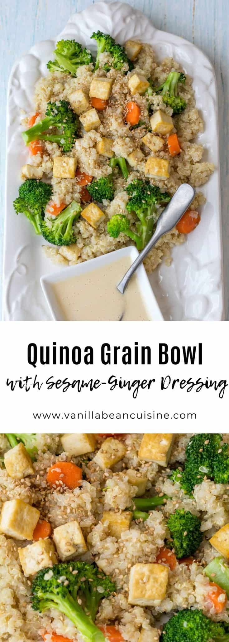 This delicious grain bowl recipe includes quinoa topped with sauteed tofu, broccoli, and carrots drizzled with sesame-ginger dressing. Vegetarian, vegan, gluten-free, and dairy-free. Will make everyone happy! #vegetarianrecipes #grainbowl #quinoasalad #glutenfreerecipes