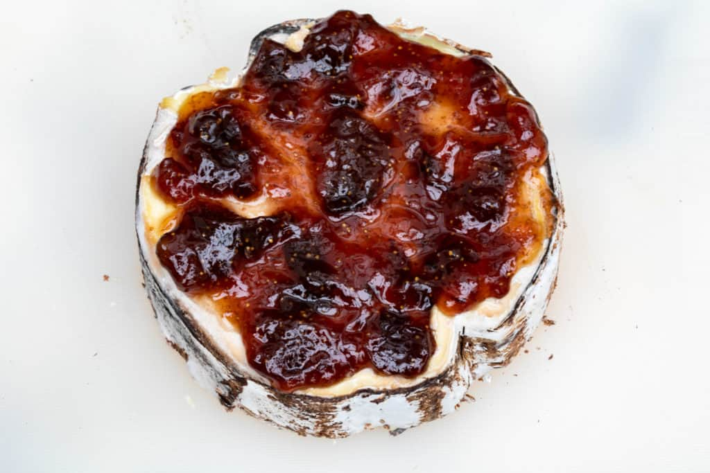 fig jam covered mont d'or cheese