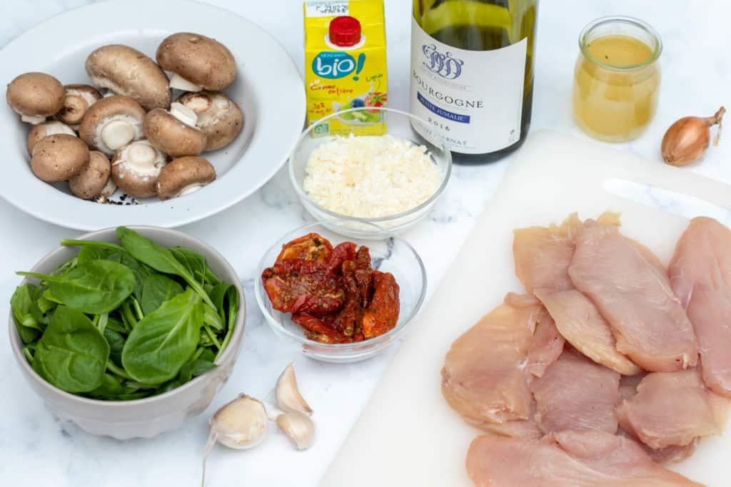 ingredients for creamy parmesan garlic mushroom chicken