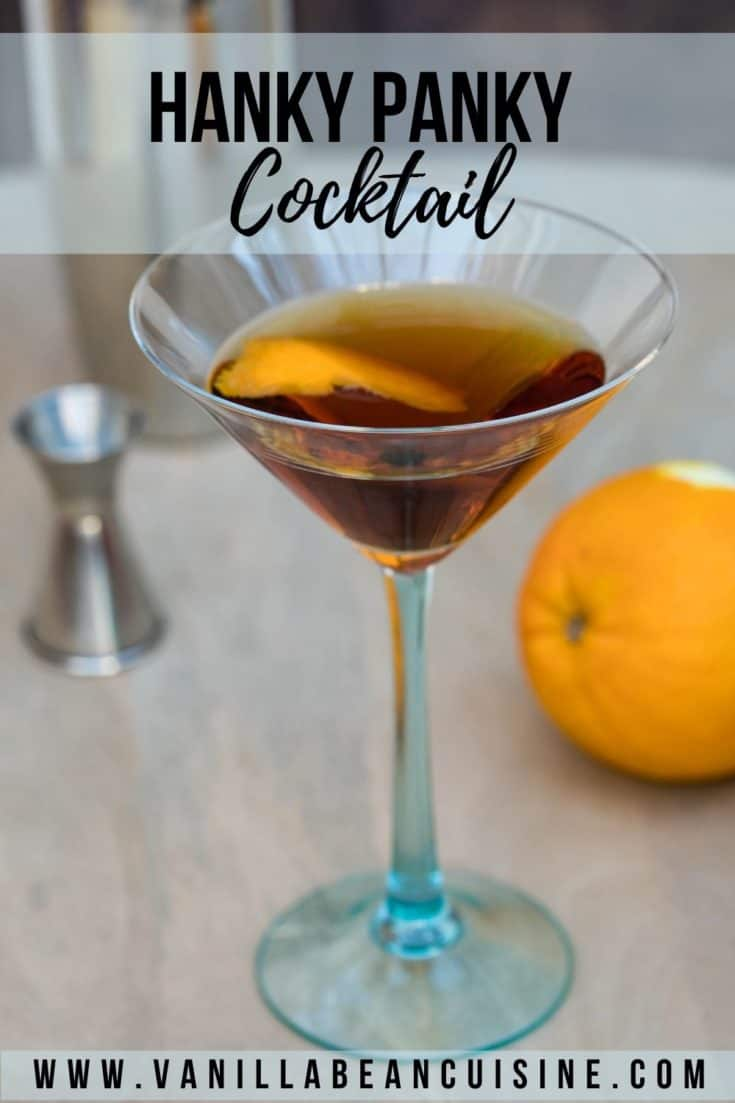 The Hanky Panky Cocktail is a cocktail invented in the early 1900s featuring gin, sweet vermouth, and fernet branca. The perfect mix of sweet and bitter! #hankypankycocktail #cocktails