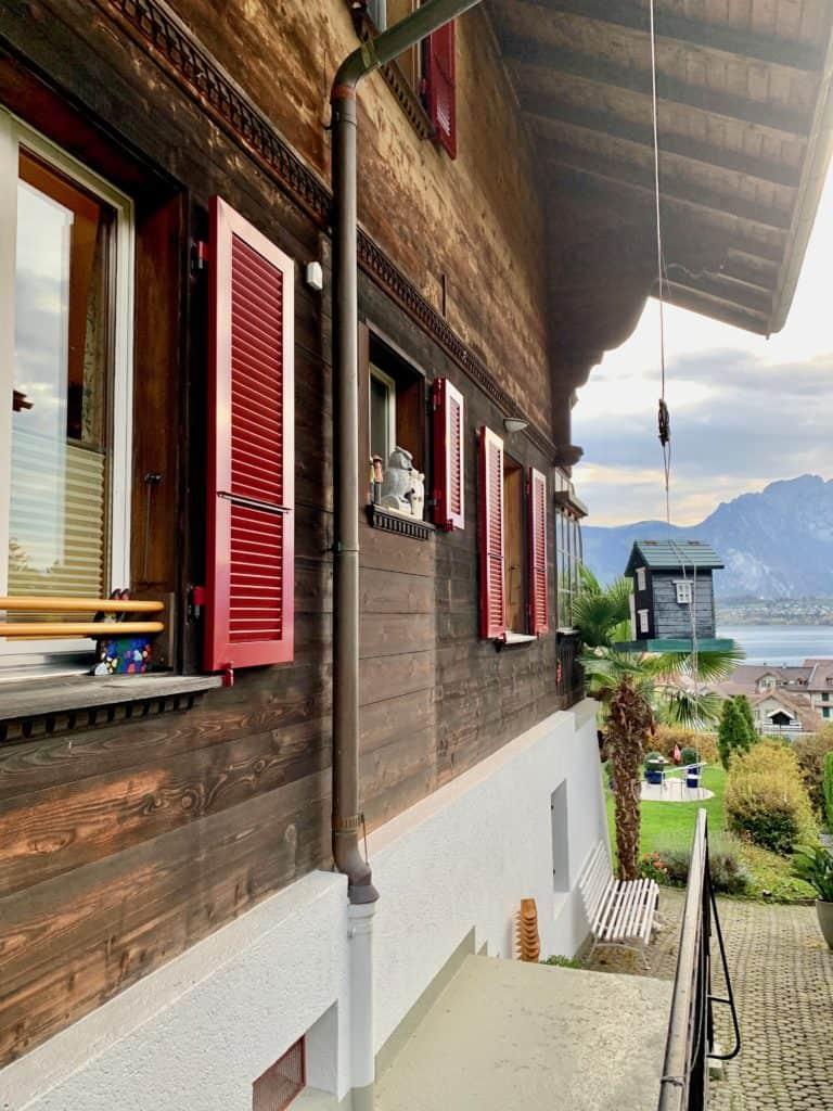 side view of airbnb in oberhofen switzerland