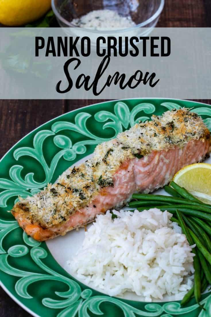 Panko Crusted Salmon Fillets have a creamy mustardy sauce and a crispy topping. They require just a few ingredients and are on the table in 30 minutes! #pankocrustedsalmon #salmon