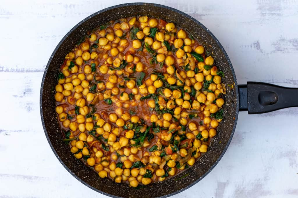 vegan chickpea curry in large skillet