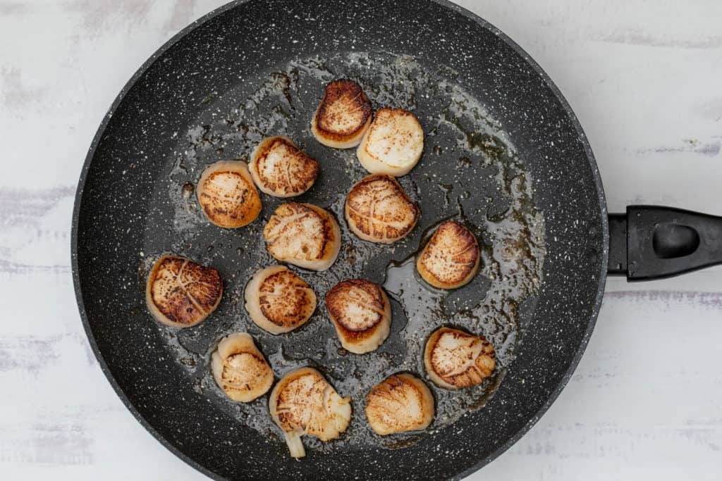 seared scallops in large skillet