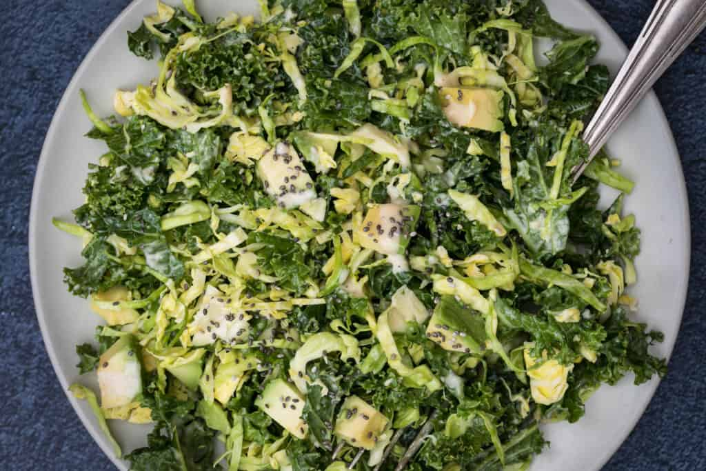 close-up of kale and brussels sprouts salad