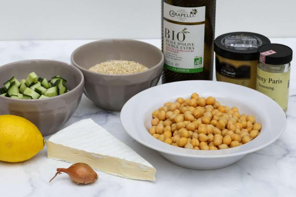 Ingredients for quinoa chickpea salad