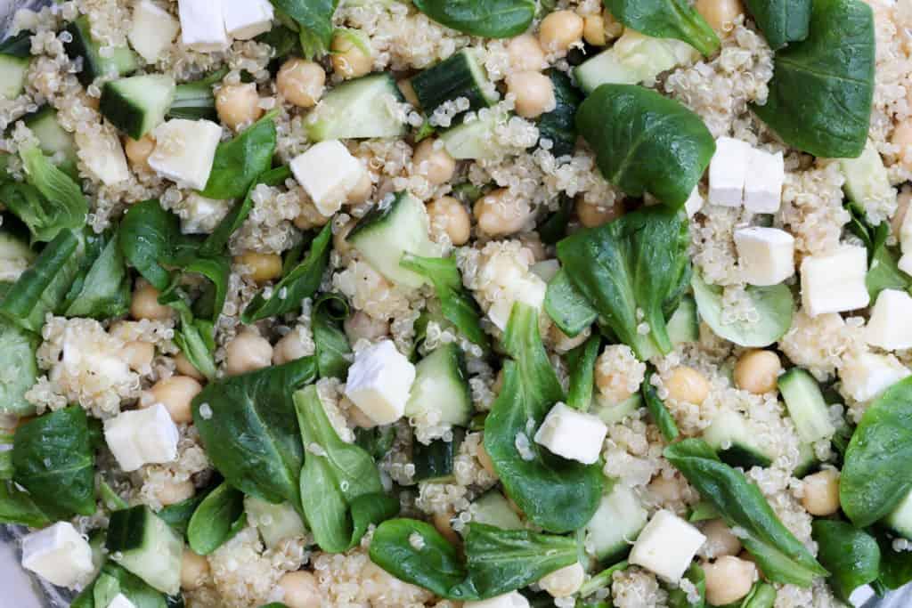 Close up of quinoa chickpea salad