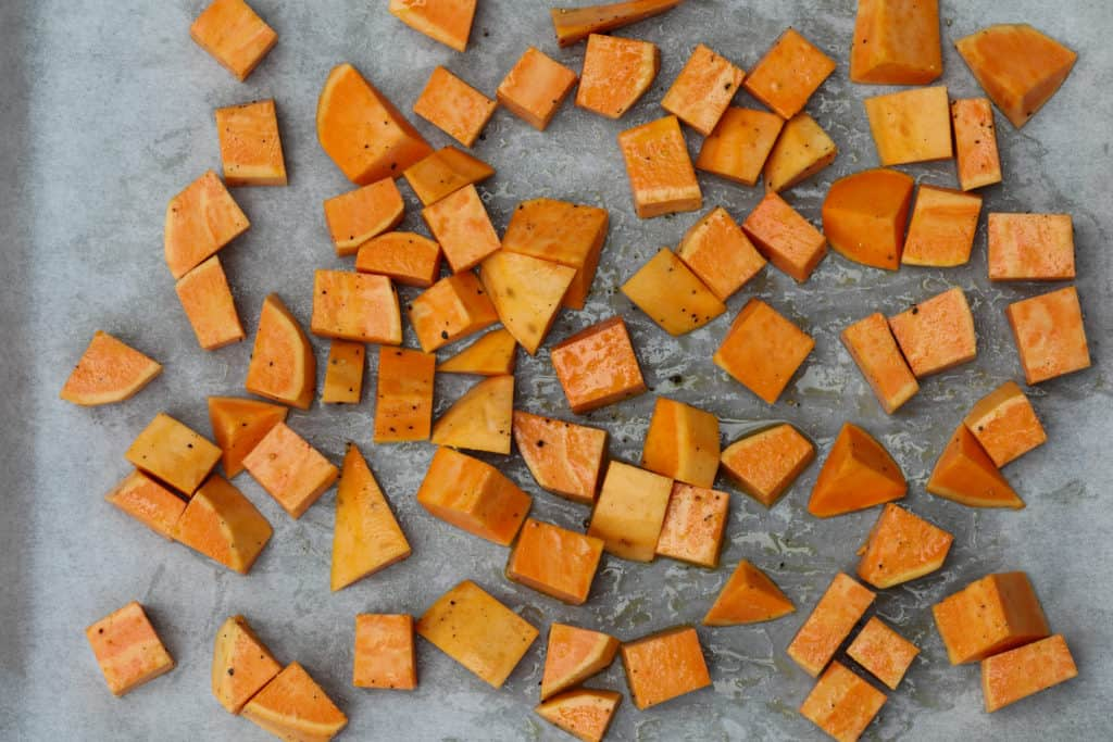 Cubed sweet potato for roasting