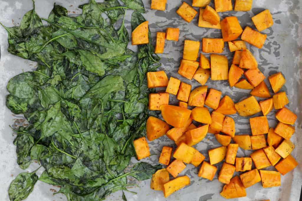 Roasted spinach and sweet potatoes for ramen egg rice bowl