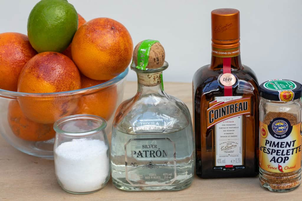 ingredients for blood orange margaritas