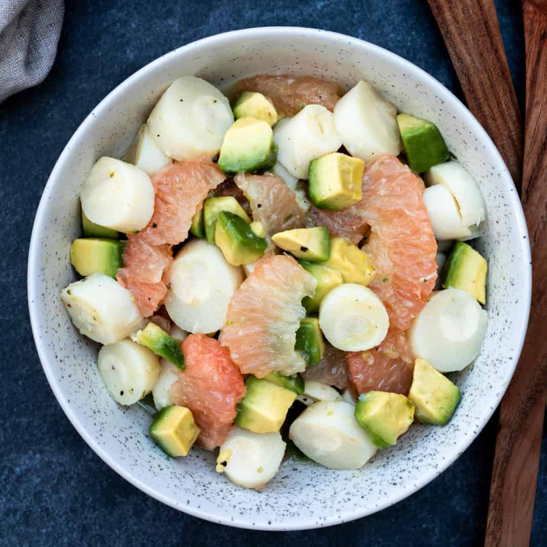 hearts of palm salad with avocado and grapefruit