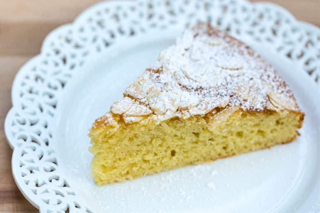 slice of French yogurt cake on white plate